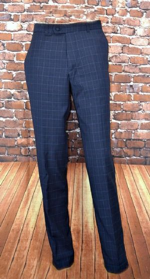 """Ash "" Blue Trouser With Fine Red Lilac Check"
